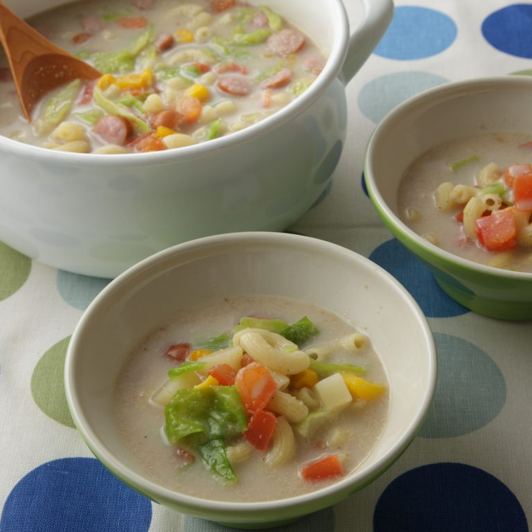 Summer Vegetable and Ginger Sesame Soy Milk Soup Pasta
