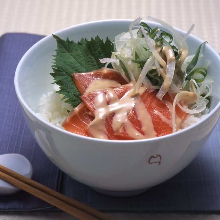 Salmon sashimi rice