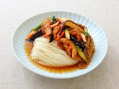 酥脆豬肉茄子泡菜麵線