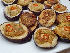 Filled Brinjal Rings Served with Mizkan Vinegar Sauce and Honey mustard flavor