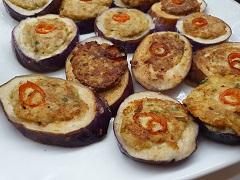 Filled Brinjal Rings Served with Mizkan Vinegar Sauce and Honey mustard flavor