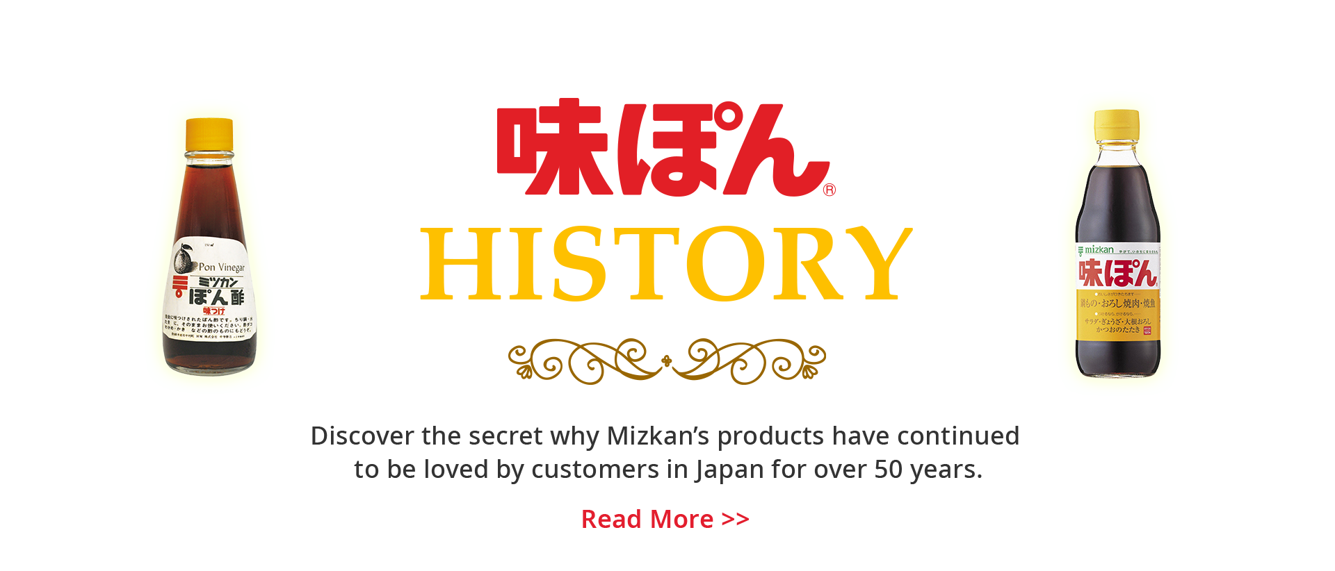 History of AJIPON - Discover the secret why Mizkan's products have continued to be loved by customers in Japan for over 50 years.